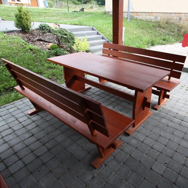 Zahradní set dřevěného nábytku z masivu modřínu o délce 195 cm