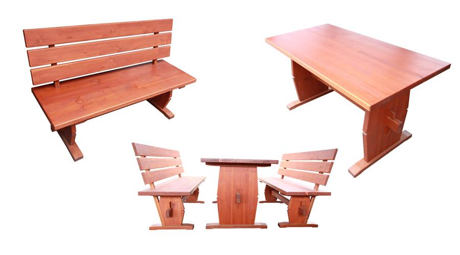 Zahradní set stolu a lavice z masivu - Modřín