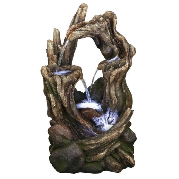 Fontána imitující dřevěné větve kmeny
